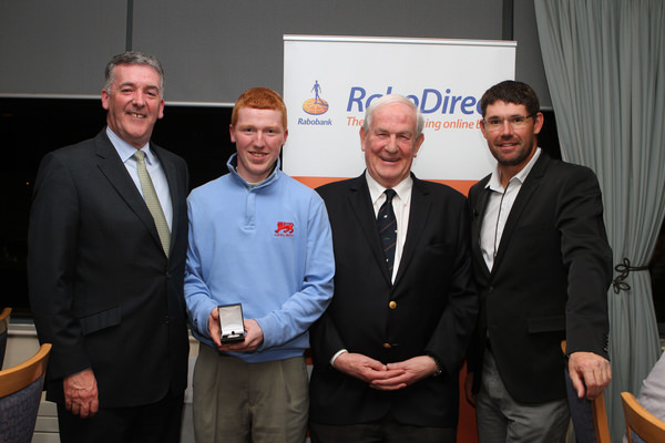 Gavin Moynihan (The Island) receives the 2013 Silver Medal. From left, Kevin Knightly (RaboDirect), Gavin Moynihan, Bill Thompson (Hilary Founder) and Pádraig Harrington (Stackstown) at Sutton Golf Club on 20 April 2013. Photo: Jenny Matthews /  www.golffile.ie