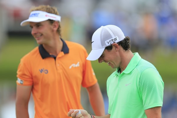 Rory McIlroy and Joost Luiten joke before the final round. Picture: Fran Caffrey  www.golffile.ie