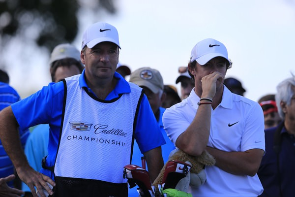 Rory McIlroy and caddie JP Fitzgerald during the WGC-Cadillac Championship at Trump National Doral's Blue Monster.Picture: Fran Caffrey www.golffile.ie