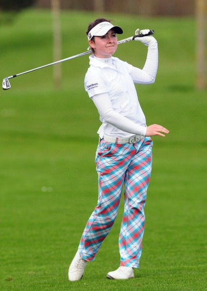 Clara Young (Scotland) playing her second shot to the 15th hole in the final round of the 2014 Irish Under 18 Girls Open Strokeplay Championship at Roganstown. Picture by Pat Cashman www.cashmanphotography.ie