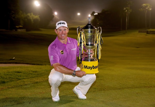 Lee Westwood with the Maybank Malaysian Open trophy. Picture © Getty Images