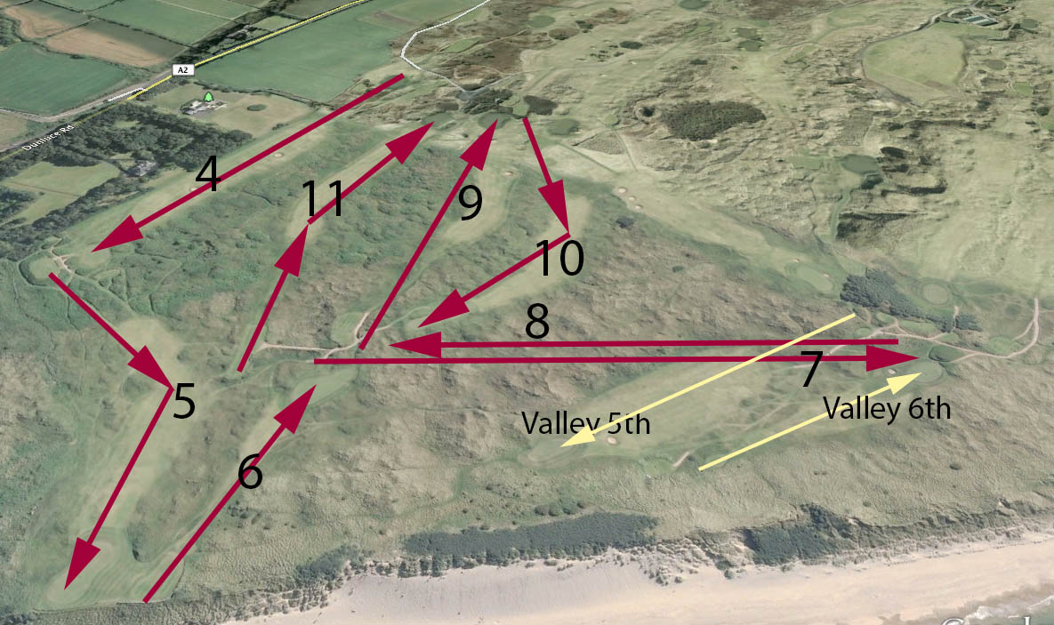 "Where the R&A will find two new holes at Royal Portrush is the subject of much speculation.  Here's one theory with a potential ""new"" 7th and 8th  in the area near the Valley's 5th and 6th"