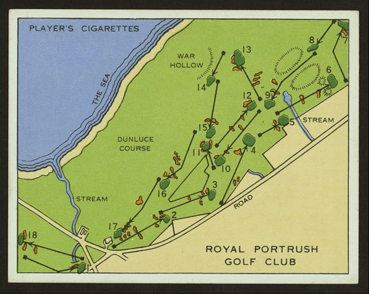 A 1930s cigarette card depicting an old layout of the Dunluce Links at Royal Portrush. The loss of land comprising the first and eighteenth holes of this layout led to the creation of the present eighth and ninth holes under the guidance of P.G. Stevenson and Sir Anthony Babington in 1946.