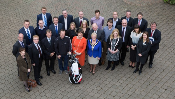 Tourism Minister Arlene Foster, European Tour player and Tournament Ambassador Michael Hoey, Ballymena Lady Mayor Audrey Wales and event sponsors at the launch