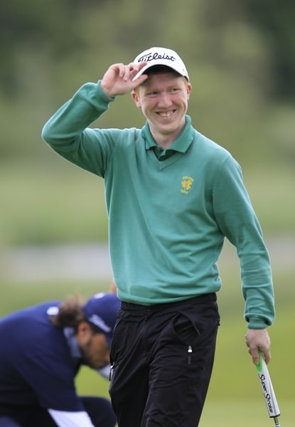 The Island's Gavin Moynihan salutes the gallery on the 18th at Carton House during last year's Irish Open.Picture: Thos Caffrey /  www.golffile.ie