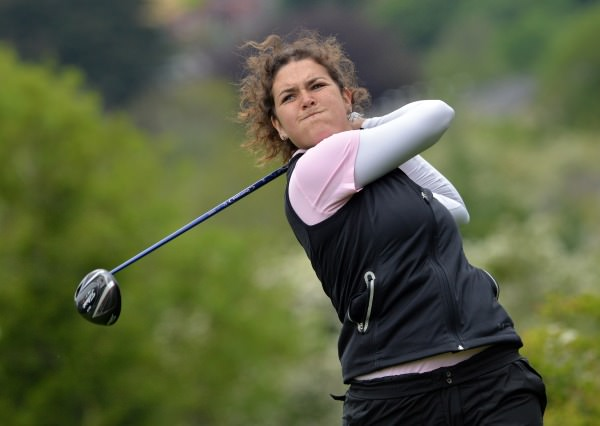 Winner Lucy Goddard (England) driving at the 14th hole in the final round of the 2014 Irish Women's Open Strokeplay Championship at Douglas Golf Club today (Sunday 25th May). Picture: Pat Cashman cashmanphotography.ie