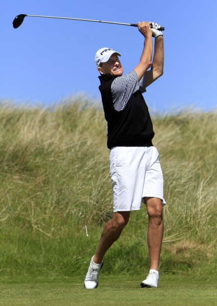 Joint leader Adrian Morrow (Portmarnock) driving from the 13th tee in the first round of the 2014 Irish Seniors Amateur Open Championship at Waterville Golf Club . Picture by Pat Cashman / cashmanphotography.ie