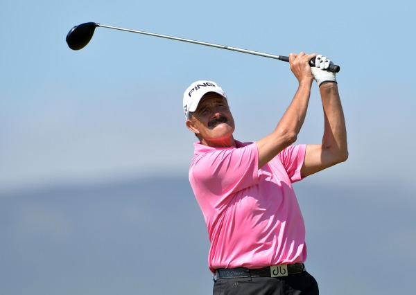 Adrian Morrow (Portmarnock) driving from the 7th tee in the second round of the 2014 Irish Seniors Amateur Open Championship at Waterville Golf Club. Picture by Pat Cashman /  cashmanphotography.ie