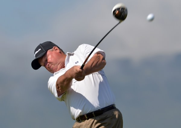 Alan Mew (England) driving from the 7th tee in the second round of the 2014 Irish Seniors Amateur Open Championship at Waterville Golf Club today (29/05/2014) . Picture by Pat Cashman cashmanphotography.ie