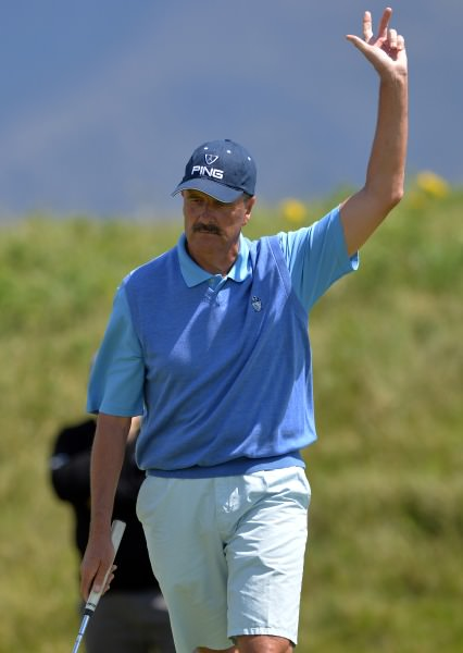 Adrian Morrow (Portmarnock) holes his putt on the 18th green to win the 2014 Irish Seniors Amateur Open Championship at Waterville. Picture by Pat Cashman  cashmanphotography.ie