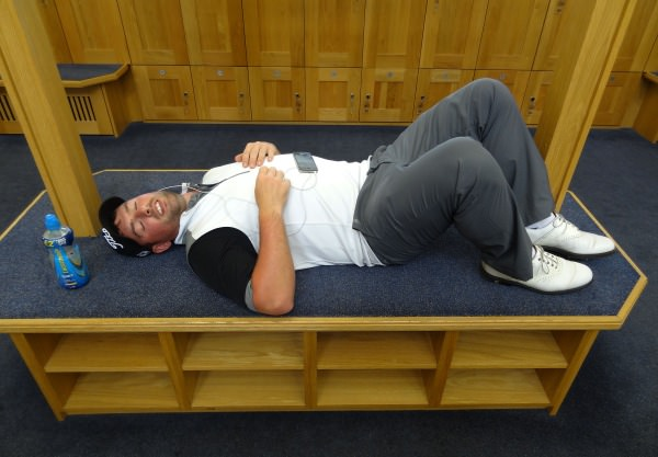 Richard Bridges (Stackstown) relaxing in the locker room during play suspension before his quarter-final at the 2014 AIG sponsored Irish Amateur Close Golf Championship at Seapoint Golf Club today (10/06/2014). Picture by Pat Cashman