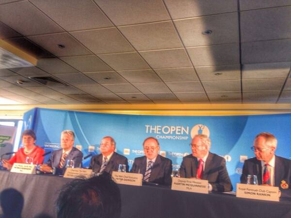 Peter Dawson, third from the right, announces the invitation to Royal Portrush to return to the Open rota.