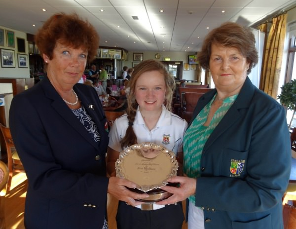 Bernadette McTeague (ILGU, Board Member) presenting Valerie Clancy (Killarney) with the Ita Wallace Trophy (Plate) after her victory at the 2014 Irish Ladies Close Championship at Enniscrone Golf Club today (16/06/2014). Also in the picture is Marguriete Murphy (Lady Captain, Enniscrone Golf Club).  Picture by Pat Cashman  cashmanphotography.ie