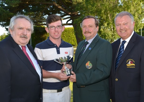 Kevin McIntyre (Chairman, Leinster Golf, GUI) presenting Cameron Raymond (Newlands) with the Multi Cargo Ltd (Dublin Airport) sponsored Leinster Boys' Under 15 Open Championship trophy. Also pictured: Pat MacCallion (Sponsor) and Brian Lennon (Captain, Beaverstown Golf Club). Picture by Pat Cashman  www.cashmanphotography.ie