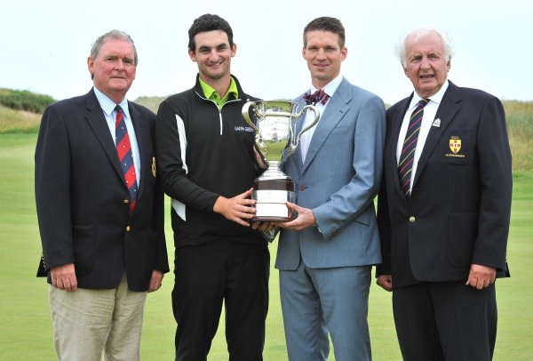 Holder Chris Selfridge (Moyola Park) with the 2013 Captain of Royal Portrush Golf Club, Bobby Clark, Andrew Spence of sponsors Cathedral Eye Clinic and the Ulster Branch Chairman Peter Sinclair