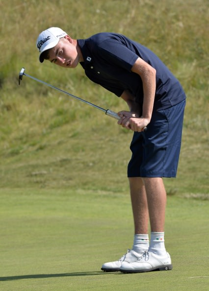Kevin Le Blanc (Leinster) watching his birdie putt at the 4th green during the Boys Interprovincial Matches at Island Golf Club. (23/07/2014l). Picture by  Pat Cashman