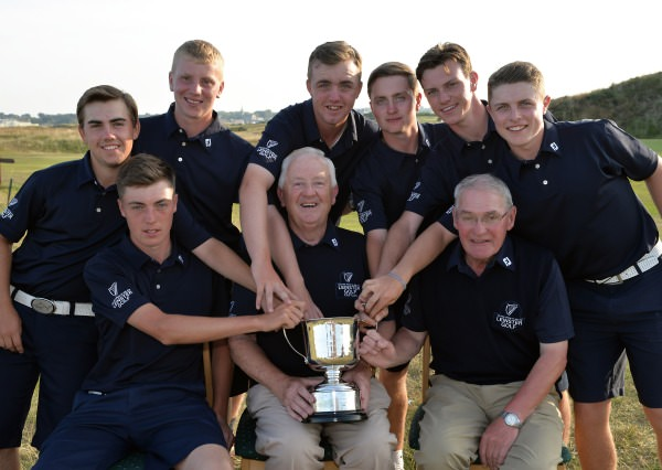 evin Raftery (Captain) Leinster Boys Team with his team members Eoin Leonard, Kevin Le Blanc, Alan Fahy, Thomas Mulligan, David Carey, Rowan Lester, Conor Purcell and John McGrath (Manager) after their victory in the Boys Interprovincial Matches at Island Golf Club today (24/07/2014). Picture by  Pat Cashman