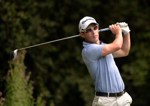 Daniel Holland (Castle) driving at the 11th tee during the final round of the Mullingar Electrical Scratch Cup at Mullingar Golf Club today (Monday 04/08/2014).  Picture by  Pat Cashman