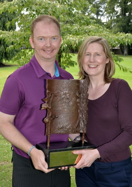 Simon Miskelly (Knock) and his wife Lynne with the 2014 Leinster Mid Amateur Open Championship trophy.  Picture by  Pat Cashman