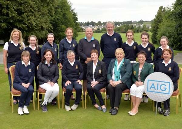 Mary McKenna (President, Irish Ladies Golf Union) pictured with Maureen Cullity (Lady Captain, Killarney Golf Club) beaten finalists in the 2014 AIG All Ireland Ladies Senior Cup at Mount Wolseley Country Club (16/08/2014). In front (from left) Mary Leacy, Claire Scanlon (Business Development Manager, AIG Ireland), Mary Geaney (Team Captain), Eilish Hanley (Lady Captain, Mount Wolseley Golf Club) and Ailish Mulcahy. At back (from left) Claire Keating, Valerie Clancy, Margaret Campion, Ann Rudden, Liam Healy (Assistant Manager), Dave Keating (Professional, Killarney Golf Club), Caitriona Griffin, Nicola Rainsford and Mairead Martin.  Picture by  Pat Cashman