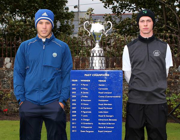 Sweden's Oskar Bergqvist (left) and Rowan Lester from Hermitage pose with the Boys Amateur Championship trophy before the final.