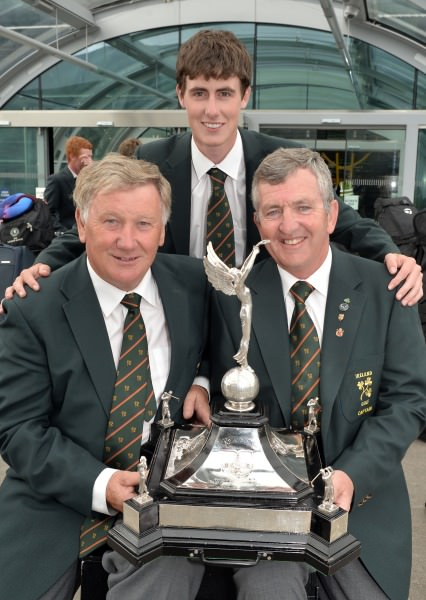 Irish Captain Padraig Hogan with manager John Carroll (Bandon) and Gary Hurley (West Waterford)  with the Raymond Trophy.  Picture by   Pat Cashman