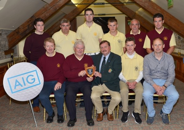 Kevin McIntyre (Chairman, Leinster Golf, GUI) presenting the runners up plaque to Brian O'Connor (Captain, Hermitage Golf Club) and Eoin Buckley (Team Captain, Hermitage Senior Cup Team) after the final of the 2014 AIG Leinster Senior Cup at Mount Juliet Golf Club today (24/08/2014). Also in front are Rowan Lester and Stephen Browne. At back (from left) Sean O'Connor, Alan Dowling, Padraig Turner, Declan Kelly, Paul Rodgers and Brian O'Connor.  Picture by  Pat Cashman