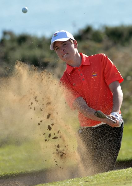 Mikey Burke (Galway) blasting from the bunker at the 14th at Ardglass Golf Club. Picture by  Pat   Cashman