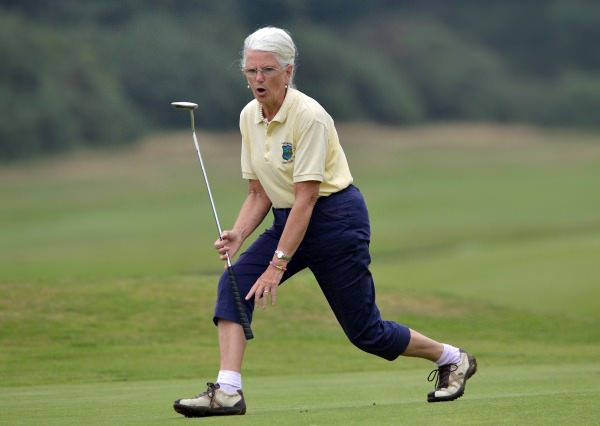 Betty Owens (Castlecomer) reacts to a missed putt on the 9th green during the final of the I Need Spain Irish Mixed Foursomes at Warrenpoint Golf Club05/09/2014). Picture by Pat Cashman
