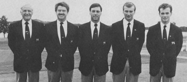 Eisenhower Trophy winners for GB&I — Garth McGimpsey (centre) and Eoghan O'Connell (far right) with Geoff Marks (captain), Peter MCEvoy and Jim Milligan in Sweden in 1988.