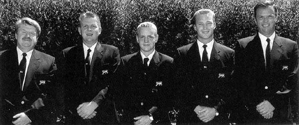 Chile 1998 — L-R:Peter McEvoy, Paddy Gribben, Luke Donald, Lorne Kelly and GaryWolstenholme in Santiago