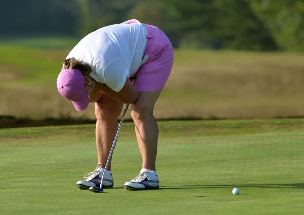 Gertie McMullen (The Island) reacts to a missed putt on the 23rd hole during the final round of the 2014 Irish Senior Women's Open Strokeplay at Dundalk Golf Club. Picture by Pat Cashman