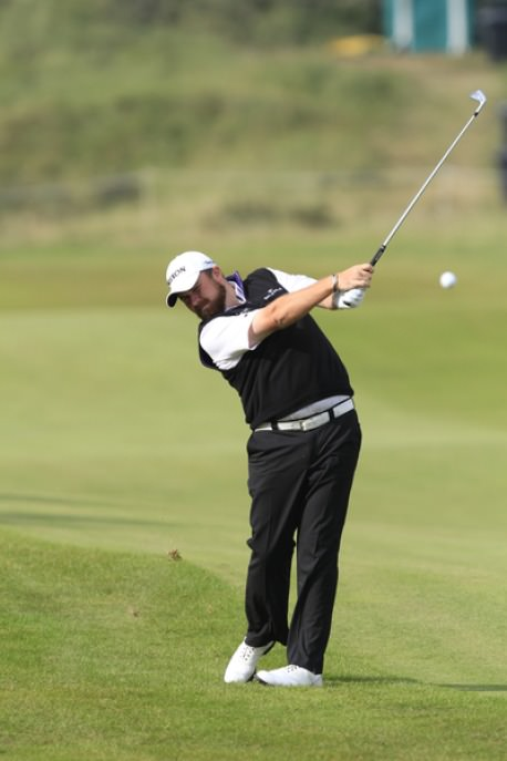 Shane Lowry plays his approach to the 10th at Kennemer Golf and Country Club in third round of the KLM Open. Picture: Thos Caffrey /  www.golffile.ie