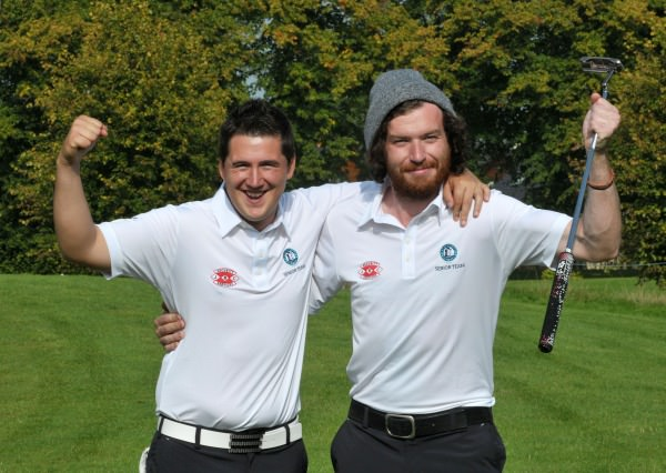 Colm Campbell and Ryan Gribben (Warrenpoint) celebrate their win on the 20th green in the semi final of the AIG Barton Shield at Carton House today (17/09/2014). Picture by  Pat Cashman