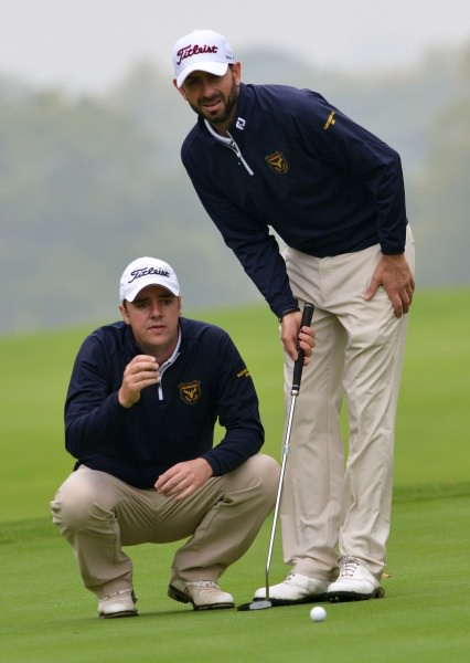 Niall Gorey and Dave O'Donovan (Muskerry) lining up their putt on the 12th green in the semi final of the AIG Barton Shield at Carton House today (17/09/2014).  Picture by   Pat Cashman