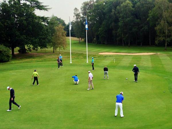 The law of averages says seven of these 10 players practicing at Frilford Heath went home disappointed. Picture via Twitter.com/ETQSchool