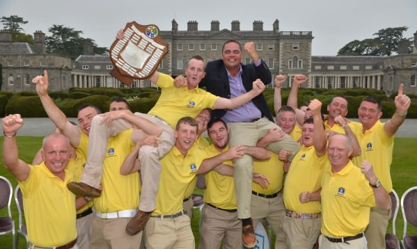 Fergal Hehir (Captain, Spanish Point Golf Club) and his team manager Micheal Talty are shouldered high after their victory in the final of the AIG Pierce Purcell Shield at Carton House (19/09/2014). Picture by  Pat Cashman