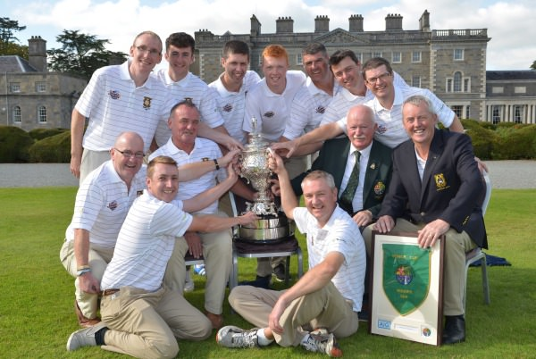 Liam Martin (President, GUI) presenting the AIG Senior Cup to Owen Kavanagh (Team Captain) of the Tramore Senior Cup team after their victory at Carton House today (20/09/2014). Also in the picture (clockwise) are David Kiely, Roger Kennedy (Assistant Team Captain), Rodge Keighery, Niall Kennedy, Ronan Walsh, Robin Dawson, Chris Butler, Paul Flynn, Peter Power, John Mitchell (Captain, Tramore Golf Club) and Alan Thomas. Picture by Pat Cashman