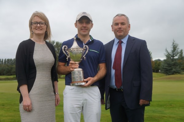 Paula Collins, Hilton Hotel Manager with Adrian Byrne, Managing Director, HBE Risk Management and PGA Ulster champion Colm Moriarty.