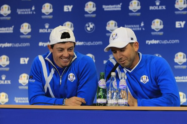 Rory McIlroy and Sergio Garcia share a hoke at the expense of Nick Faldo. Picture  www.golffile.ie
