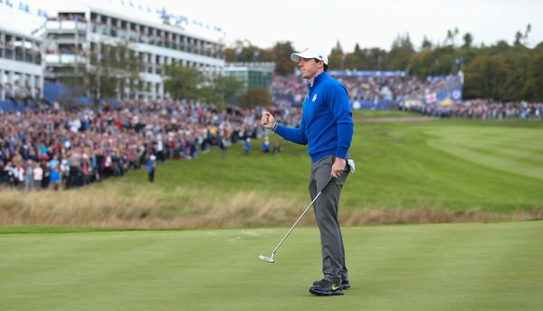 Rory McIlroy (EUR) birdies the first during Sunday's Singles at the 2014 Ryder Cup from Gleneagles, Perthshire, Scotland. Picture: David Lloyd / www.golffile.ie