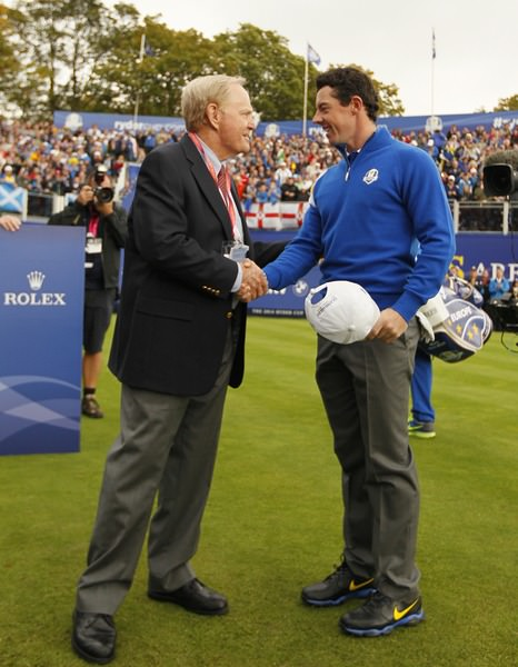 Jack Nicklaus shakes hands with Rory McIlroy (EUR) during the Sunday Singles Matches at the 2014 Ryder Cup at Gleneagles. The 40th Ryder Cup is being played over the PGA Centenary Course at The Gleneagles Hotel, Perthshire from 26th to 28th September 2014.: Picture Stuart Adams,  www.golftourimages.com