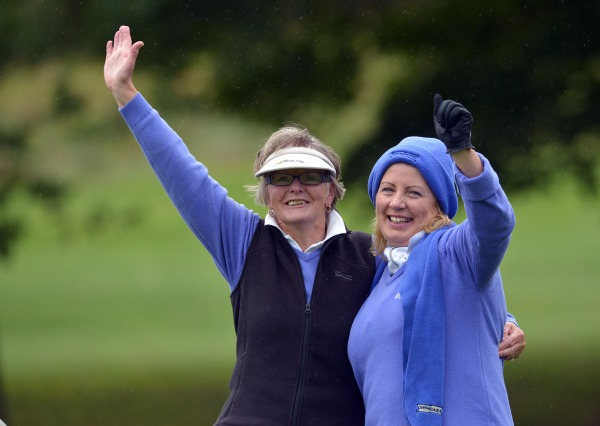 Yvonne Morrison and Bernie Carroll (Cahir Park) celebrate their win on the 20th in 2014 Miele All Ireland Ladies Interclub Fourball final to clinch victory at Naas Golf Club today (05/10/2014). Picture by  Pat Cashman