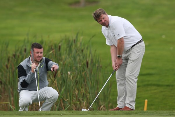 Carrickfergus PGA Professional James Orchin (left) and club captain Duncan McLeod. Picture: Patrick Bolger / Getty Images