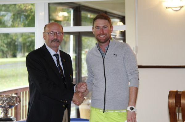 Mike Counihan (Club President, Adare Manor) presents Donal Gleeson (Old Conna) with third prize during in the 104th Irish PGA Championship at Adare Manor Golf Club on Sunday 5th October 2014. Picture: Thos Caffrey /  www.golffile.ie