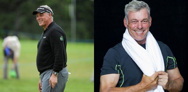 Before and after. Darren Clarke has lost more than four stones thanks to his workout regime