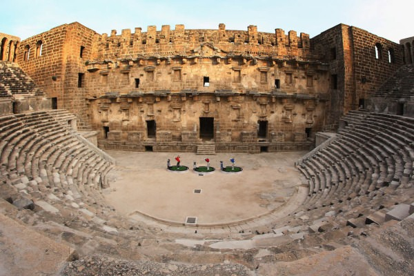 Sergio Garcia, Henrik Stenson and Lee Westwood hit balls inthe 2,000 year-old Amphitheatre of Aspendos near Antalya. Picture ©Getty Images