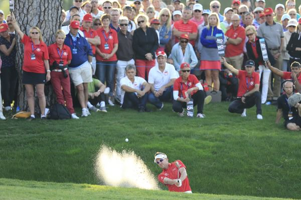Ian Poulter splashed out to six feet at the 18th but couldn't hole the putt to force a playoff with Brooks Koepka.Picture Fran Caffrey www.golffile.ie