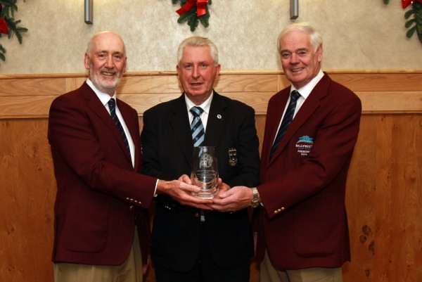 Munster Golf Club of the Year 2014. Left to right, Tim Smyth (Captain,  Ballyneety GC), John Moloughney and Mike Garry (President Ballyneety GC)