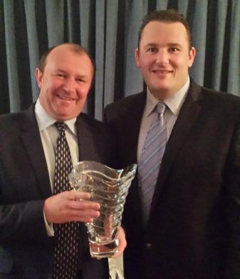 Irish Golf Writers' Championship winner Denis Kirwan with Mark Fearon from sponsors Tipperary Crystal at Woodbrook GC last week.